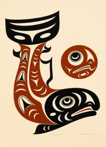 "Image: Shaun Peterson (Puyallup/Tulalip). Moving Forward, 2006, serigraph, 20""x14.5"" Photo by Art and Soul Photo. City of Seattle Portable Works Collection"